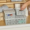 Lakeside Set of 3 Stackable Lace-Design Bins with Lids - - image 2 of 2
