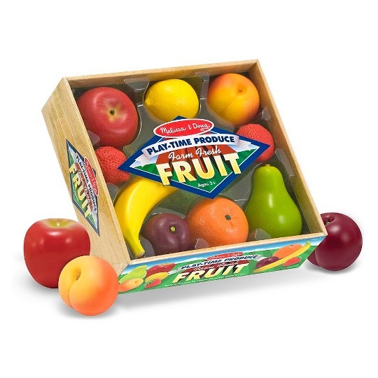 Melissa & Doug Playtime Produce Fruits Play Food Set With Crate (9pc) image number null