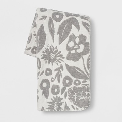 Floral Chenille Throw Blanket Gray - Opalhouse™