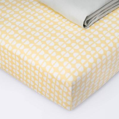 Fitted Crib Sheet Jersey Sheet - Cloud Island™ Half Circles/Gray Mustard Yellow/Gray 2pk