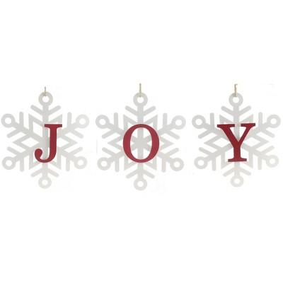 "Christmas 13.0"" Joy Snowflake Hanging Decor Winter Home Decor  -  Wall Sign Panels"