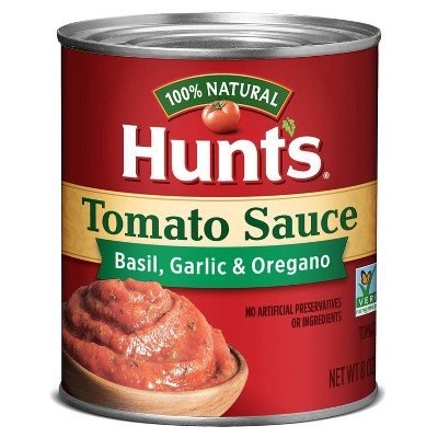 Hunt's 100% Natural Tomato Sauce, Basil, Garlic, & Oregano 8oz