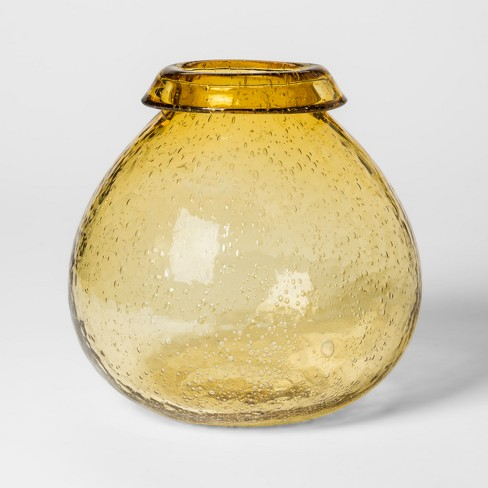 Vase Bubbled Glass - Yellow - Threshold™ - image 1 of 6