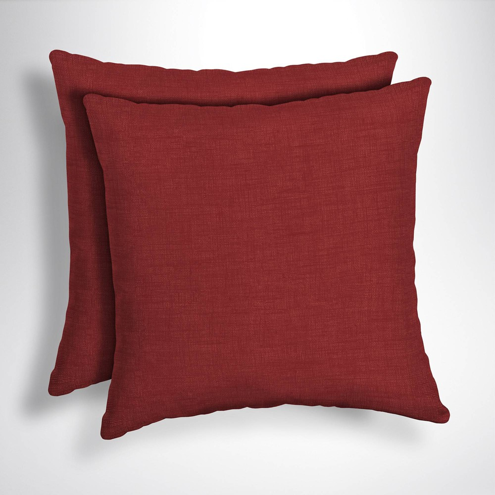 Image of 2pk Leala Texture Square Outdoor Throw Pillows Ruby - Arden Selections