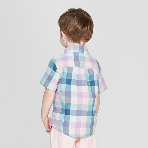 e7d21d0c Toddler Boys' Plaid Short Sleeve Button-Down Shirt - Cat & Jack™ Blue