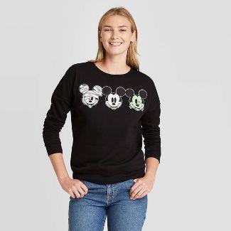 Women's Disney Mickey Monster Halloween Faces Graphic Sweatshirt - Black M