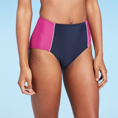 Women's High Waist Bikini Bottom - All in Motion™ Cranberry/Navy Colorblock
