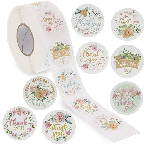 Paper Junkie 1 Roll Of 1000 Pcs 1 5 Assorted Floral Thank You Stickers Round Sealing Labels Wedding Invites Thanksgiving Birthday Baby Shower Party Target