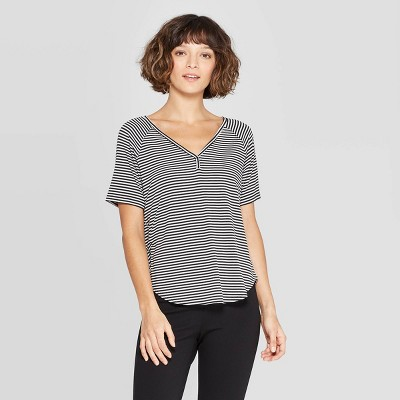 3df98f47a8b51c Women s Striped Short Sleeve V-Neck Raglan T-Shirt - A New Day™