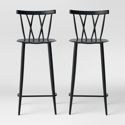 Set of 2 Becket Metal X Back Barstool Black - Project 62™