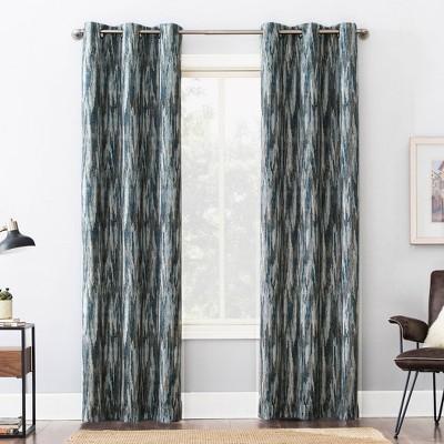 Ursa Cascading Ikat Theater Grade Extreme 100% Blackout Grommet Curtain Panel - Sun Zero