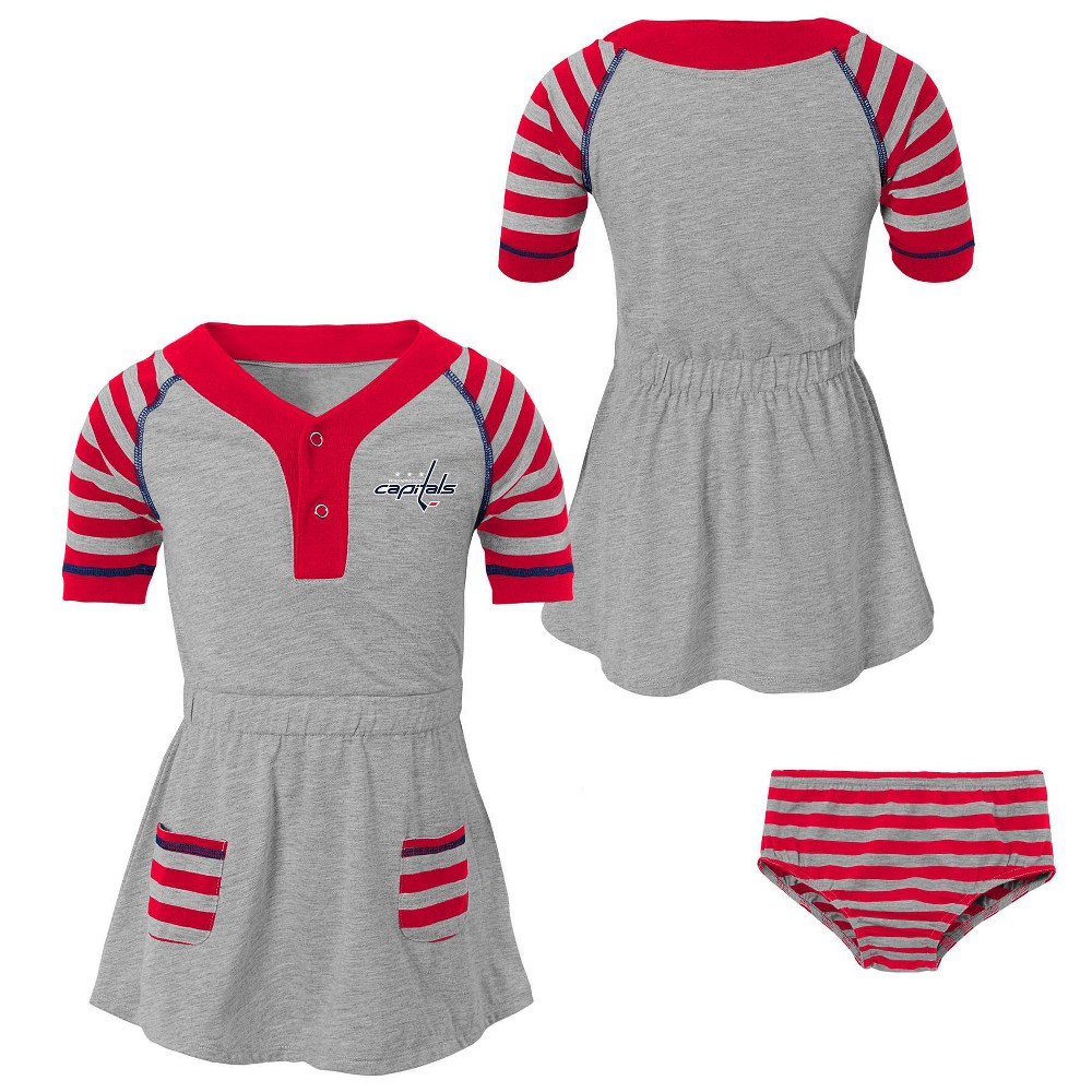 Washington Capitals Girls' Infant/Toddler Striped Gray Dress - 18M, Multicolored