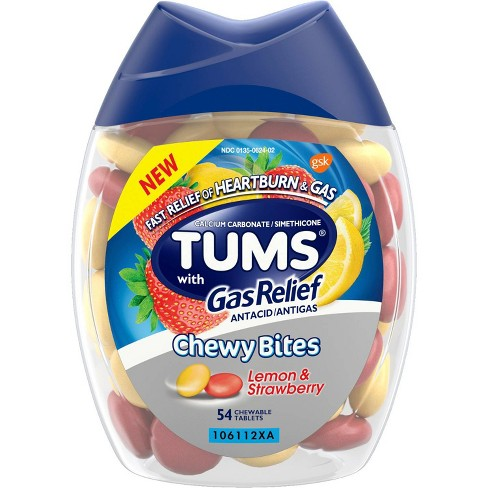 Tums Chewy Bites with Gas Relief Extra Strength Chewable Antacid for Heartburn - Lemon & Strawberry - 54ct - image 1 of 4