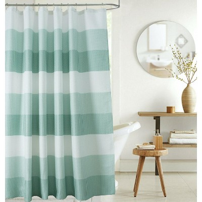 Kate Aurora Spa Accents Striped Waffle Fabric Shower Curtains