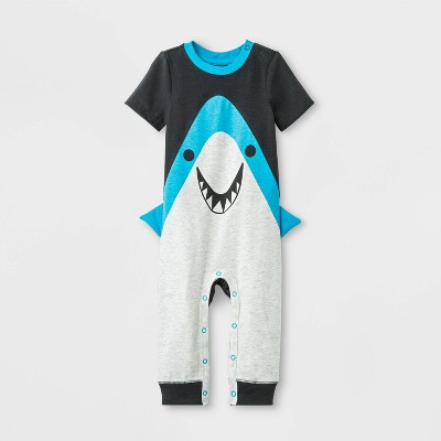 Baby Boys' Short Sleeve Shark Romper - Cat & Jack™ Gray/Black 24M