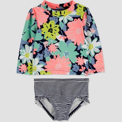 Baby Girls' 2pc Floral Long Sleeve Rash Guard Set - Just One You® made by carter's Navy 3M