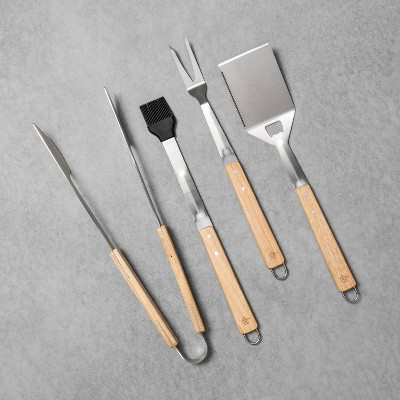 4pk Grill Tools with Wood Handle - Hearth & Hand™ with Magnolia
