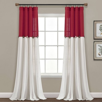 """84""""x40"""" Linen Button Window Single Red Curtain Panel Red - Lush Décor"""