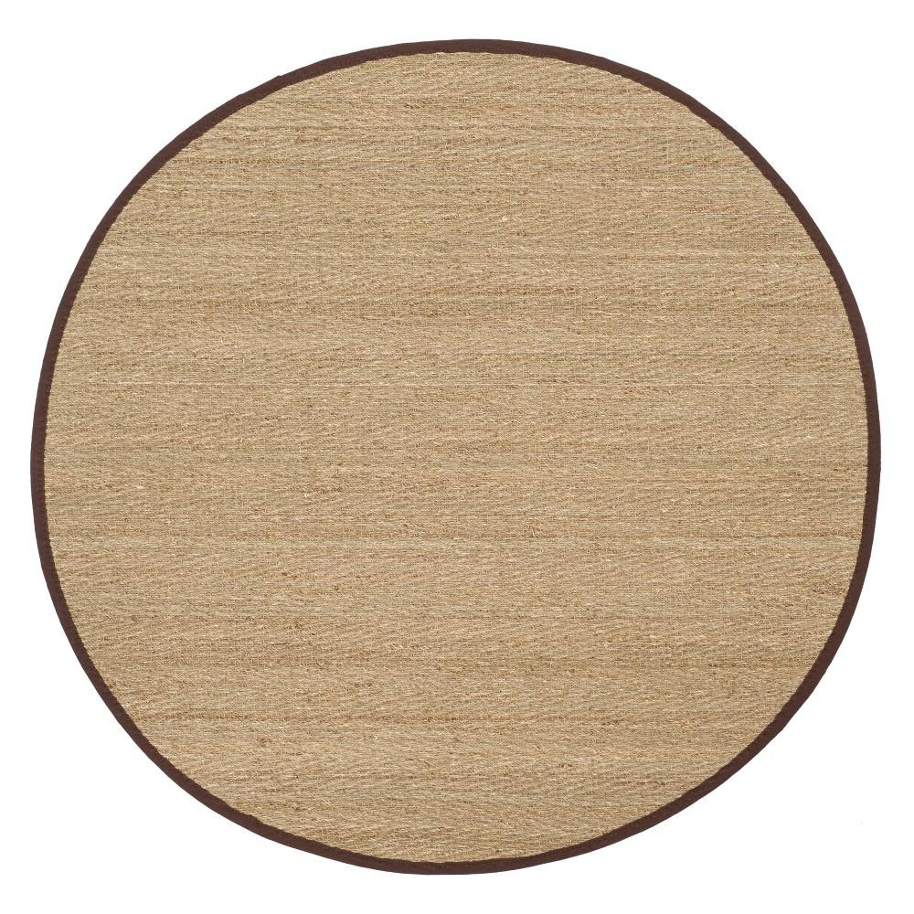 6' Solid Loomed Round Area Rug Natural/Dark Brown - Safavieh