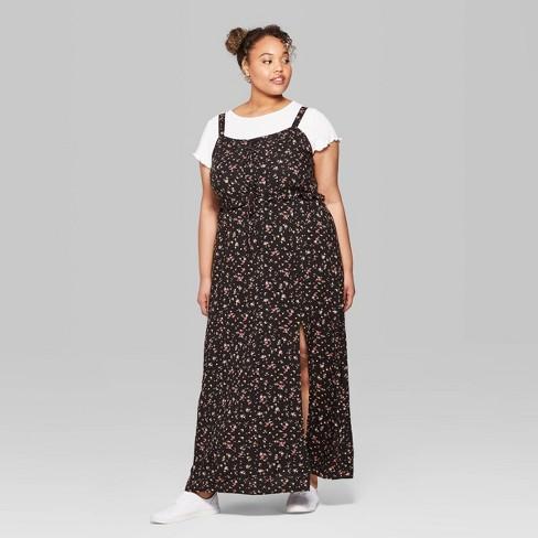 Women\'s Plus Size Floral Print Strappy Scoop Neck Lace-Up Maxi Dress ...