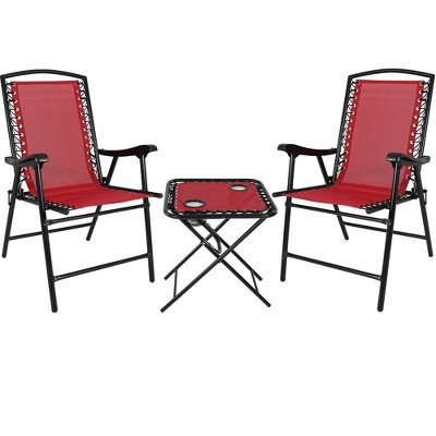 Suspension Folding Patio Chairs With Table   Set Of 2   Red   Sunnydaze  Decor