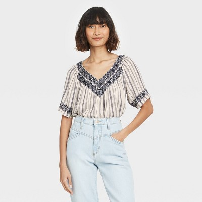 Women's Striped Short Sleeve Embroidered Top - Knox Rose™ Ivory