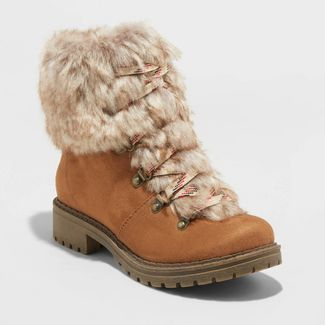 Women's Lilliana Microsuede Faux Fur Lace-Up Boots - Universal Thread™ Cognac 8