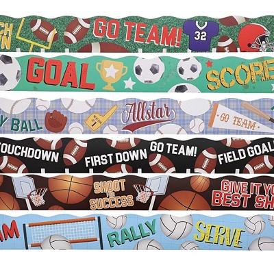 Juvale 6-Rolls 39-Feet Sport Bulletin Board Strips for Classroom Decorations, 6 Designs