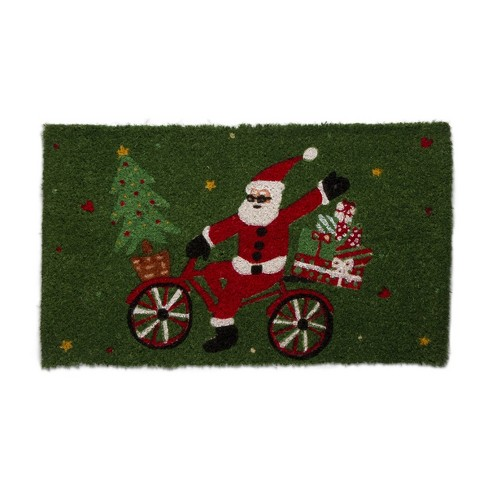 """TAG 1'6"""" x 2'6"""" Whimsy Holiday Santa On Bike Gifts Tree Coir Doormat Indoor Outdoor Welcome Mat - image 1 of 3"""