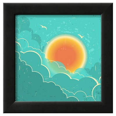 Art.com Vintage Sky Background With Sun And Dark Clouds On Old Paper Poster - Framed Art Print