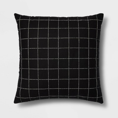 Embroidered Cotton with Cording Grid Square Throw Pillow Black - Room Essentials™