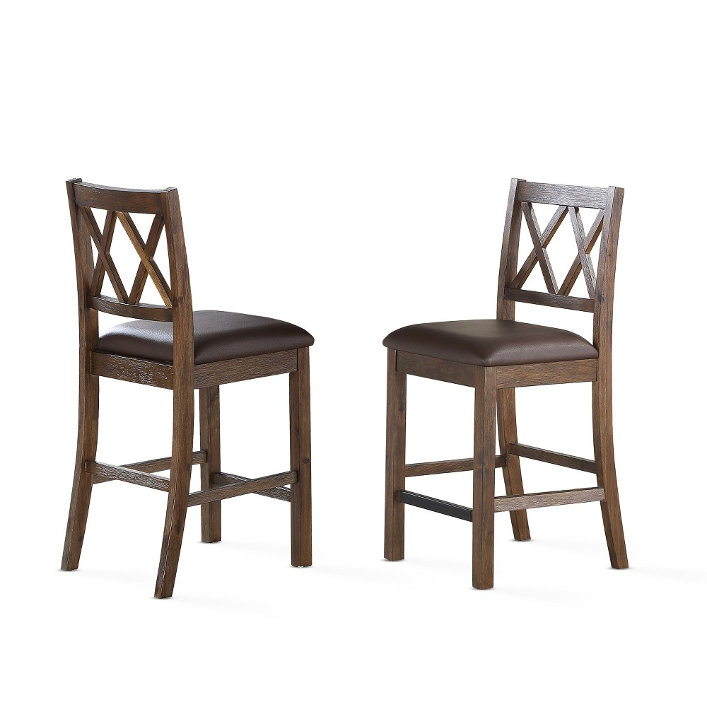 24 Lori Counter Chair Set of 2 Chestnut (Brown) - Steve Silver