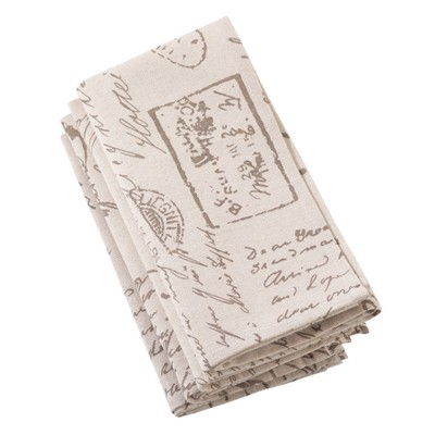 4pk Polyester Old Fashioned Vintage Script Print Design Everyday Napkin - Saro Lifestyle
