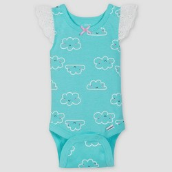 Gerber Baby Girls' 4pk Clouds Sleeveless Onesies Bodysuit - Dark Gray/White/Green Newborn