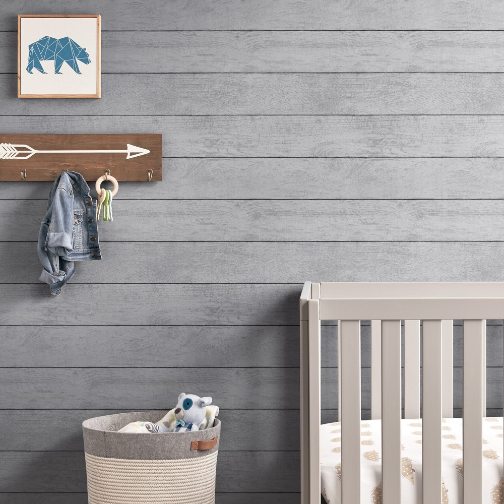 Peel & Stick Wallpaper Textured Planks Gray - Cloud Island