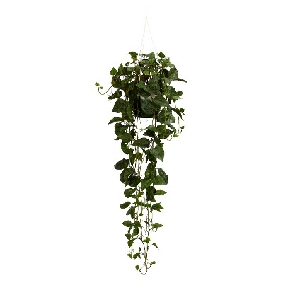 Nearly Natural Philodendron Hanging Basket Silk Plant