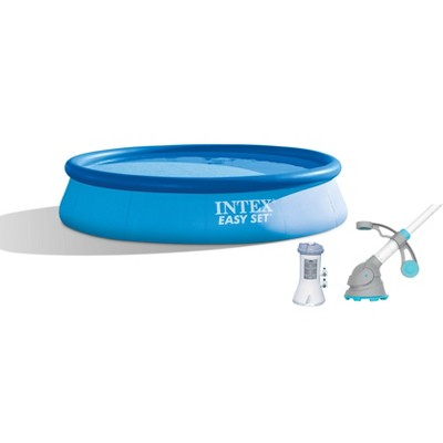 Intex 12ft x 30in Easy Set Above Ground Pool with Filter Pump & Automatic Vacuum