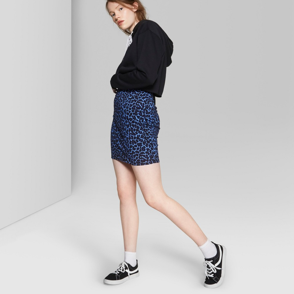 Women's Leopard Print Bodycon Mini Skirt - Wild Fable Blue S