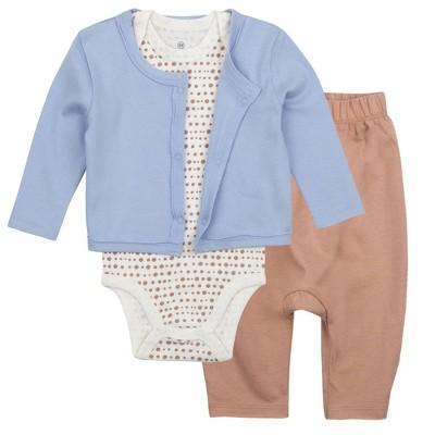 Honest Baby Boys' 3pc Organic Cotton Sugar Swizzle Bodysuit and Pants with Linear Dot Cardigan Set - Blue 6-9M