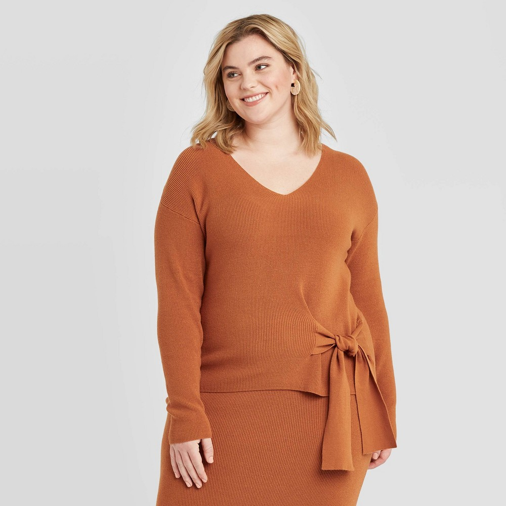Women's Plus Size Side-Tie V-Neck Sweater - Ava & Viv Rust 4X, Women's, Size: 4XL, Brown was $27.99 now $19.59 (30.0% off)