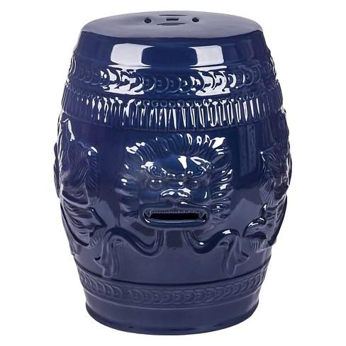 Chinese Lion Navy Blue Ceramic Garden Stool Abbyson Living Target