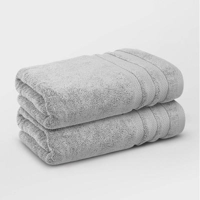 2pc Finesse Ultrafine Zero Twist Cotton Bath Towel Set Gray - Trident Group