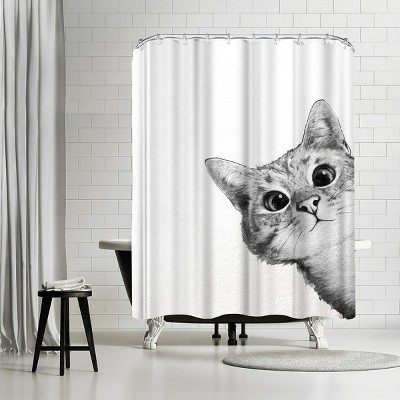 """Americanflat Sneaky Cat by Laura Grave 71"""" x 74"""" Shower Curtain"""