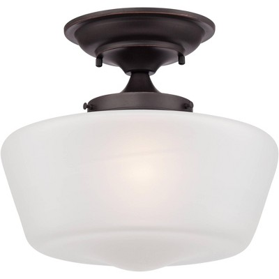"""Regency Hill Schoolhouse Ceiling Light Semi Flush Mount Fixture Bronze 12"""" White Glass for Bedroom Kitchen"""