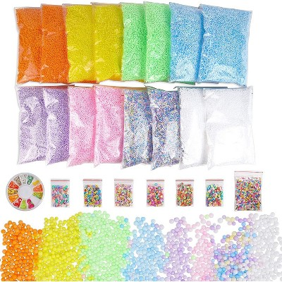 Bright Creations Foam Beads for Slime and Fruit Polymer Slices, Pastel (24 Pack, 90,000 Pieces)