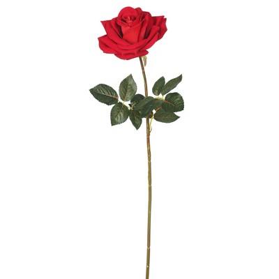 """Artificial (Pk/3) Single Velvet Rose (25"""") Red - Vickerman"""