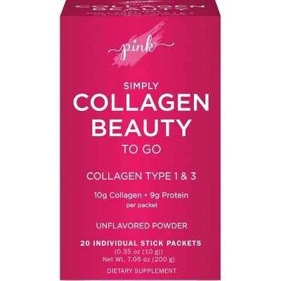 Pink Simply Collagen Beauty to Go Unflavored Powder Stick Packs - 20ct
