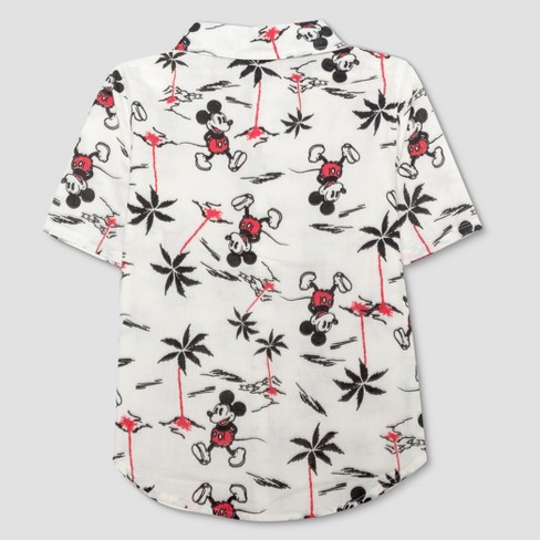 56abff17 Junk Food Boys' Mickey Mouse Print Short Sleeve Button-Down Shirt - Ivory :  Target
