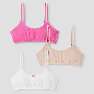 Girls' 3pk Cotton Cami Bra - Cat & Jack™ Pink/White/Beige