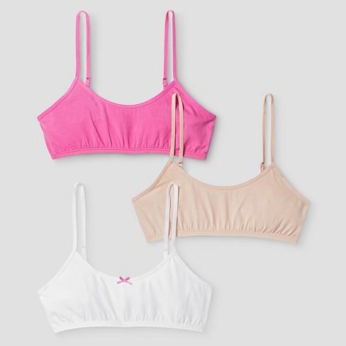 Girls' 3pk Cotton Cami Bra - Cat & Jack™ Pink/White/Beige - image 1 of 1